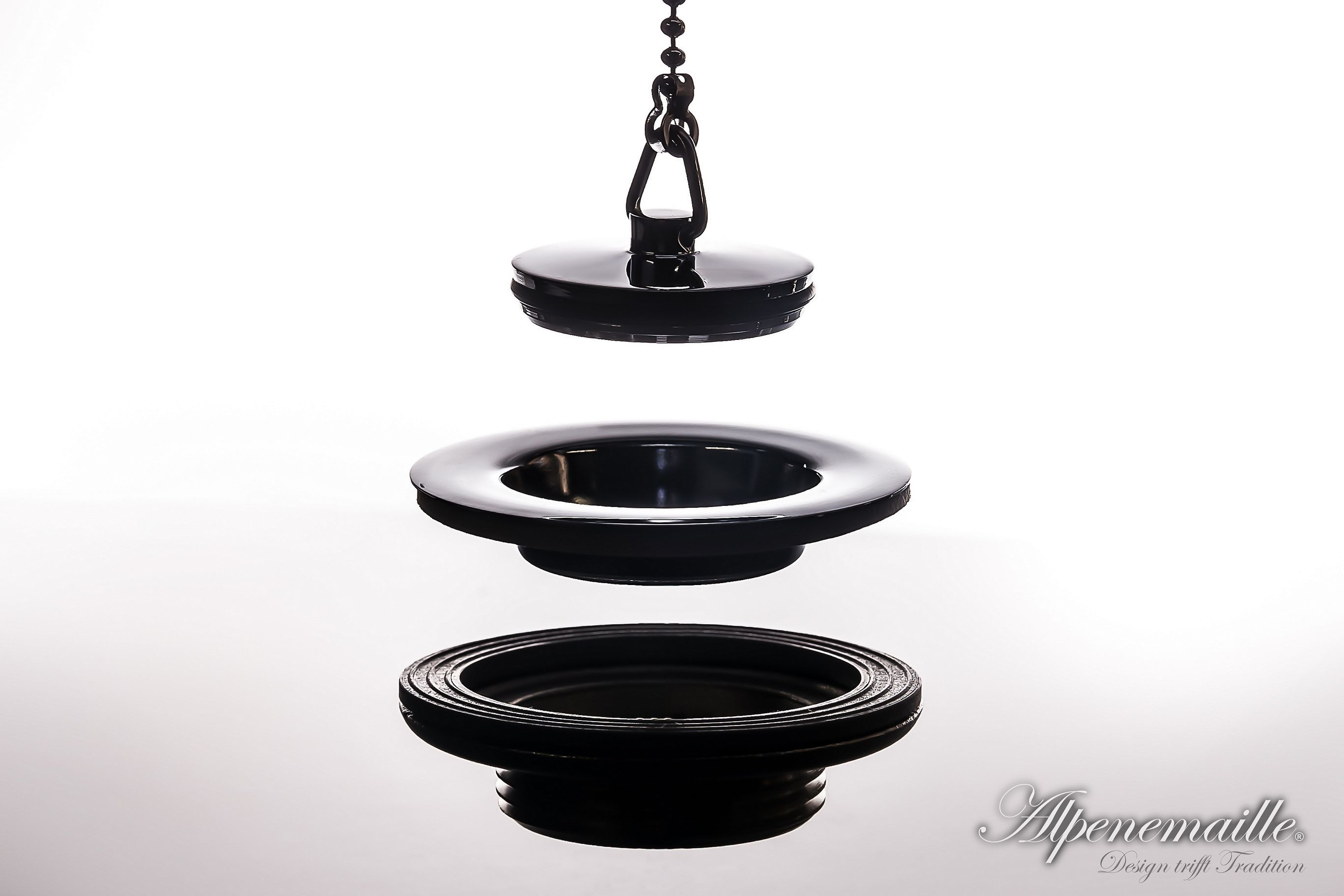 Premium retro basin waste with brass & rubber plug and ball chain