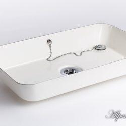 Stahl Emaille Waschbecken Gitti, 45x26x7 - eckig, 404-99