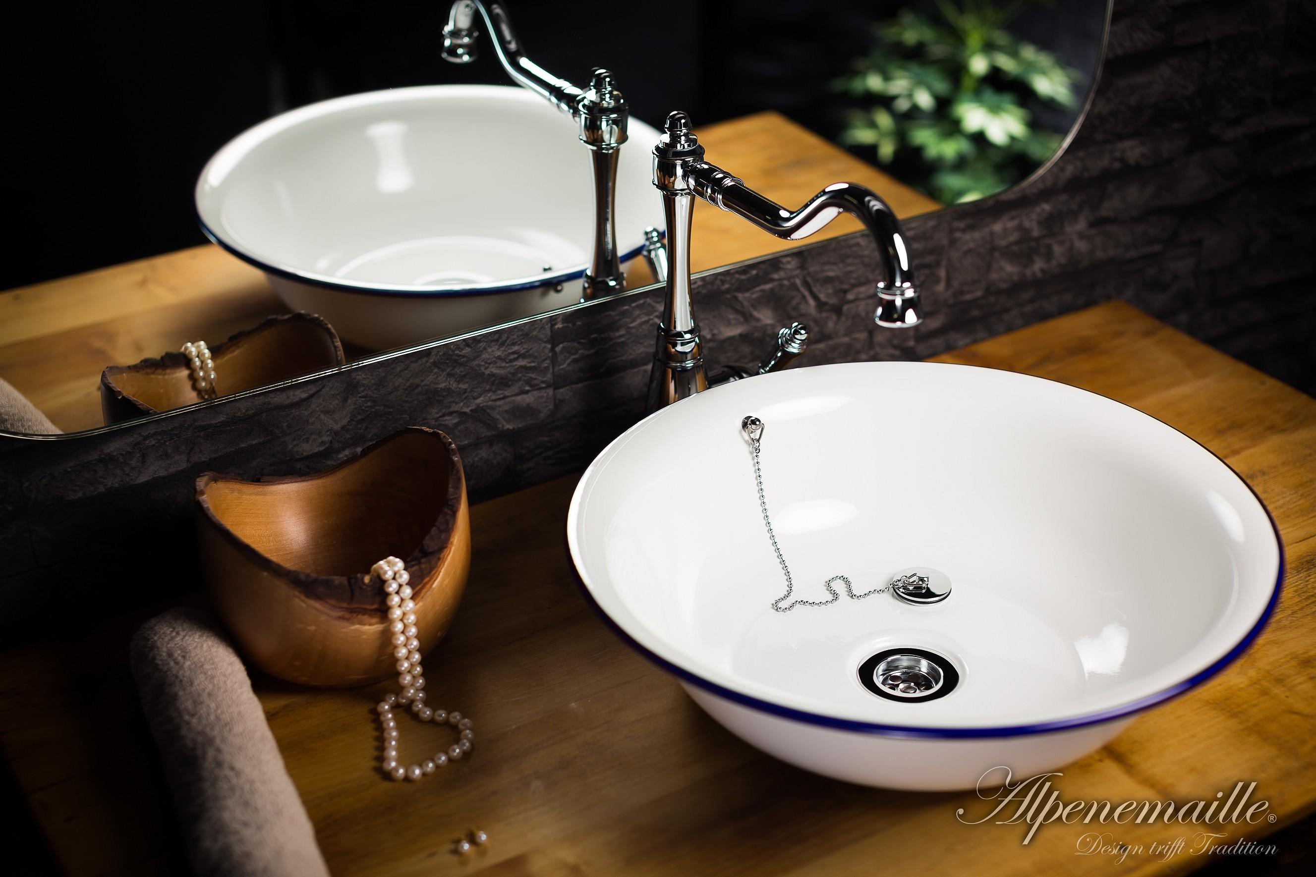 alpenemaille design trifft tradition premium emaille waschbecken anni 41x11cm. Black Bedroom Furniture Sets. Home Design Ideas